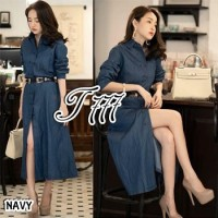 Baju Korea Long Drs Denim Nisa Dark Ql