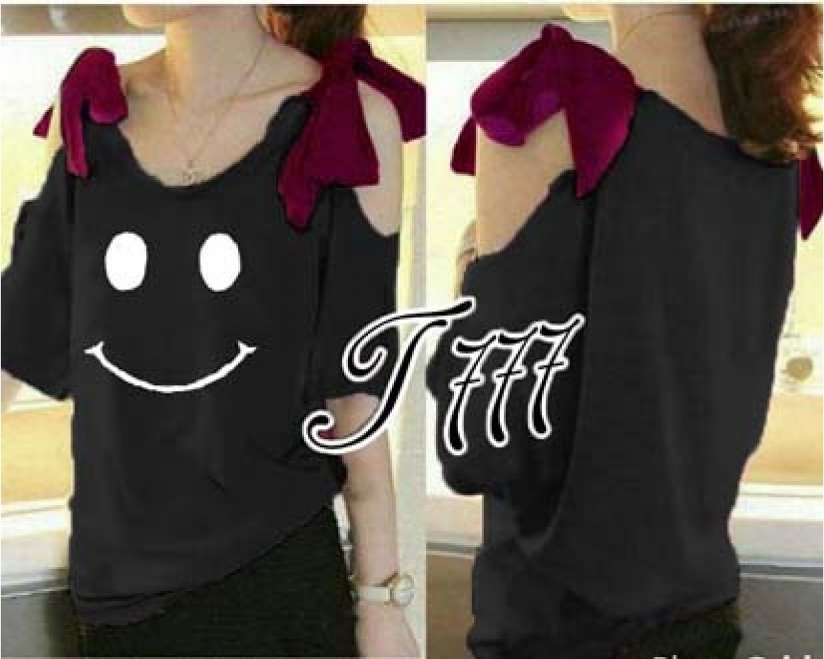 Baju Korea Blouse Ribbon Smile Ql Black