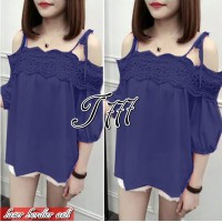 Baju Korea Top Bordir Laser Import To Navy