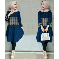 Baju Korea Tunik Kotak Ribbon Navy