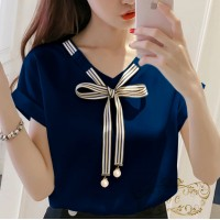 Baju Korea Blouse Laura Ff Navy