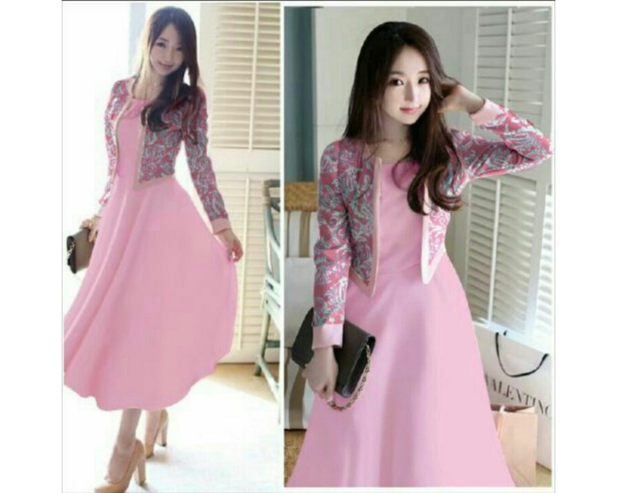 Baju Korea St Famous Vd Pink 2In1