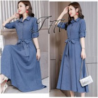Baju Wanita Long Drs Belt Ribbon To Denim