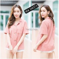 Baju Korea Top Hem Dakota Wn Pink