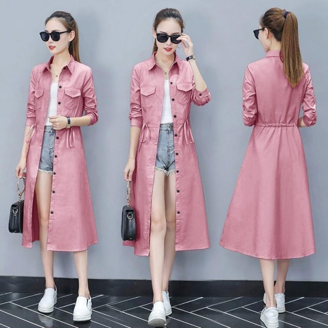 Baju Korea Long Coat Pocket Dusty