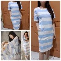 Baju Korea Drs Big Stripe Bluewhite