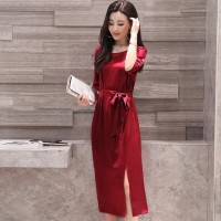 Baju Korea Long Drs Saten Ss Maroon