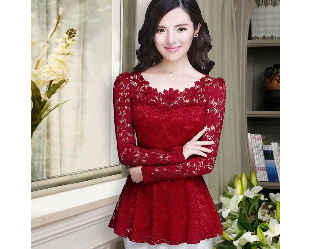 Baju Korea Top Cindy Brukat Vb Maroon