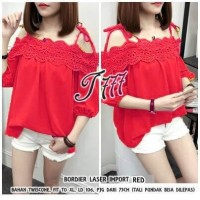 Baju Korea Top Bordier Laser Import To Red