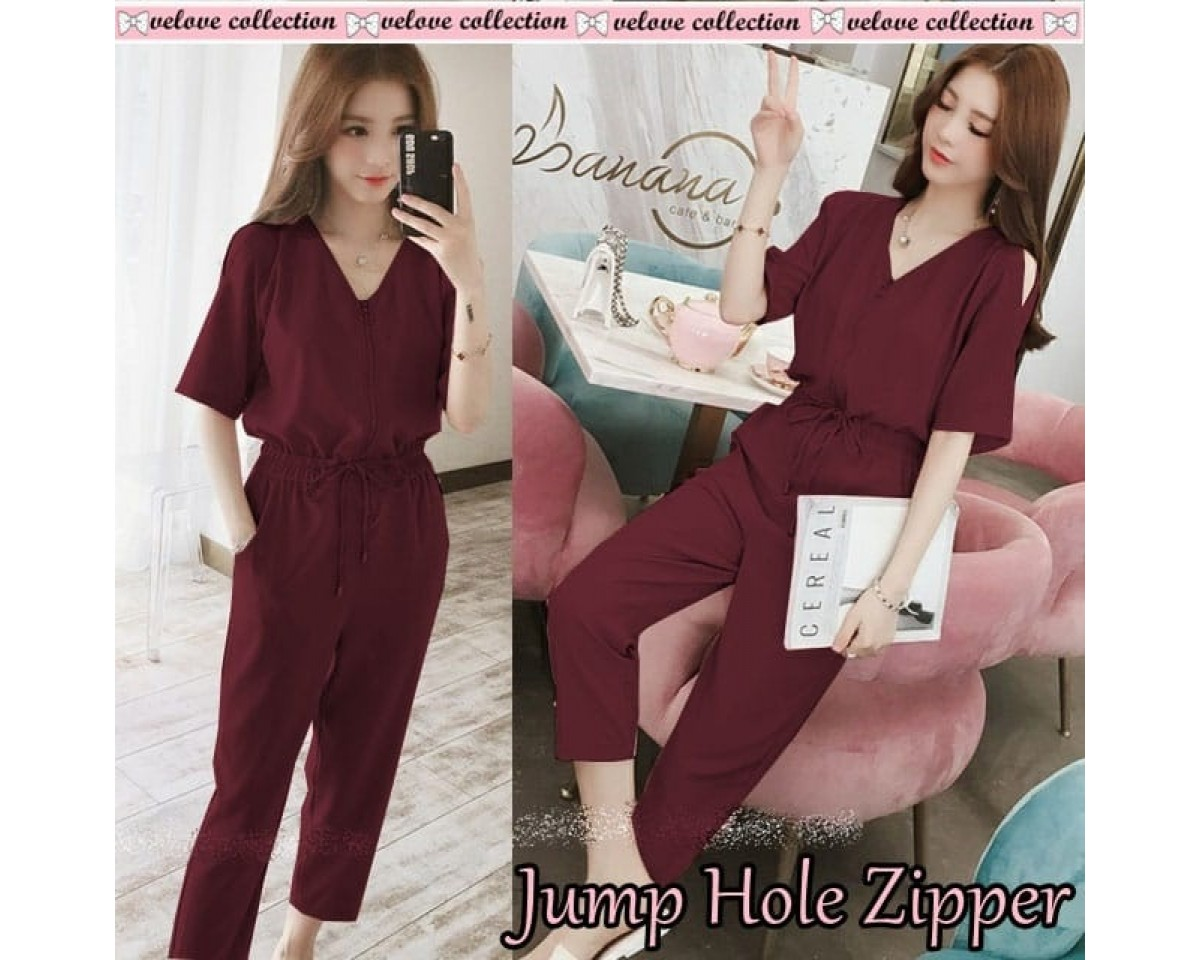 Baju Korea Jumper Hole Zipper Vl Maroon