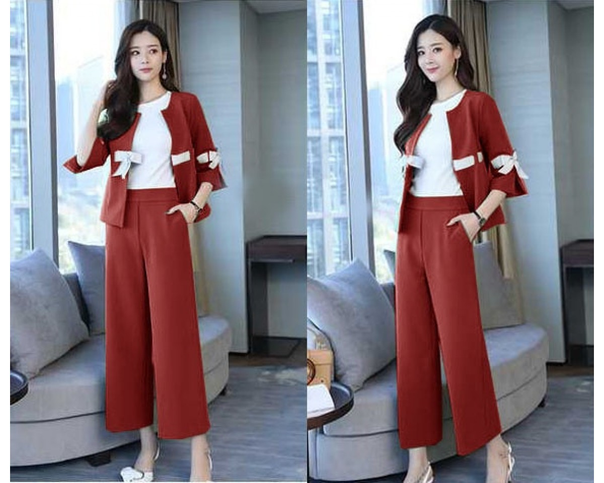 Baju Korea St 2In1 Ribbon Sm.Maroon