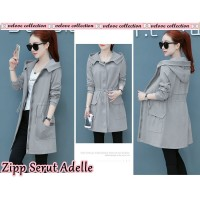Baju Korea Coat Zipper Adelle Vl Abu