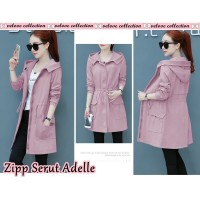 Baju Korea Coat Zipper Adelle Vl Dusty