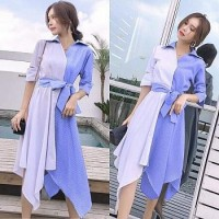 Baju Korea Drs Kombi Stripe Blue To