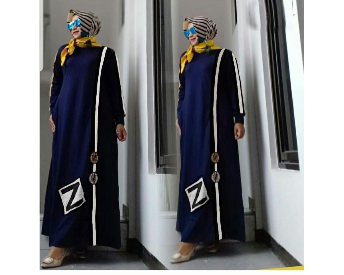 Baju Korea Hj Maxi Findy Fosi Navy
