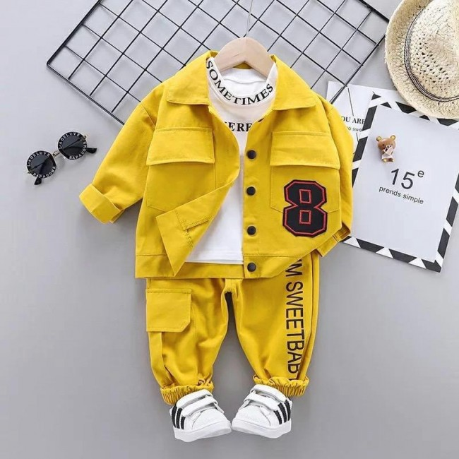 Baju Anak Kd St Eight Ks Kuning Set 3In1