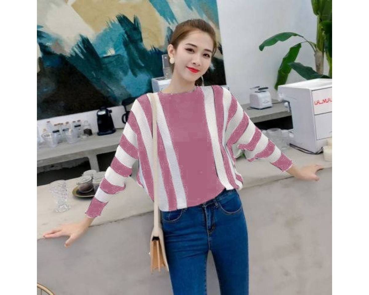 Baju Korea Batwing Stripe Ra Dusty