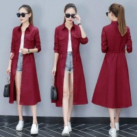 Baju Wanita Long Coat Pocket Vl Maroon