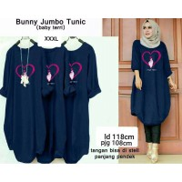 Baju Korea Tunik Love Ra Navy