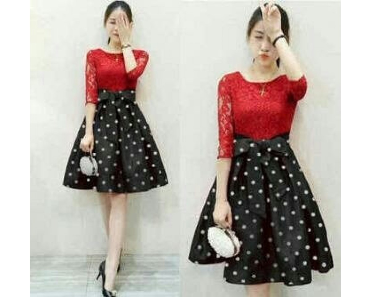 Baju Korea Drs Marry Polka Ij Red