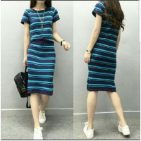 Baju Korea St Angel Stripes Biru