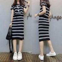 Baju Korea St Angel Stripes Black