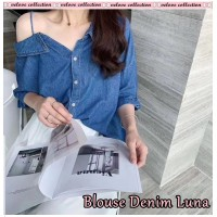 Baju Korea Blouse Denim Luna Vl Tua