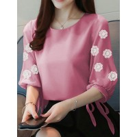 Baju Korea Blouse Astrid Flower Ij Dusty