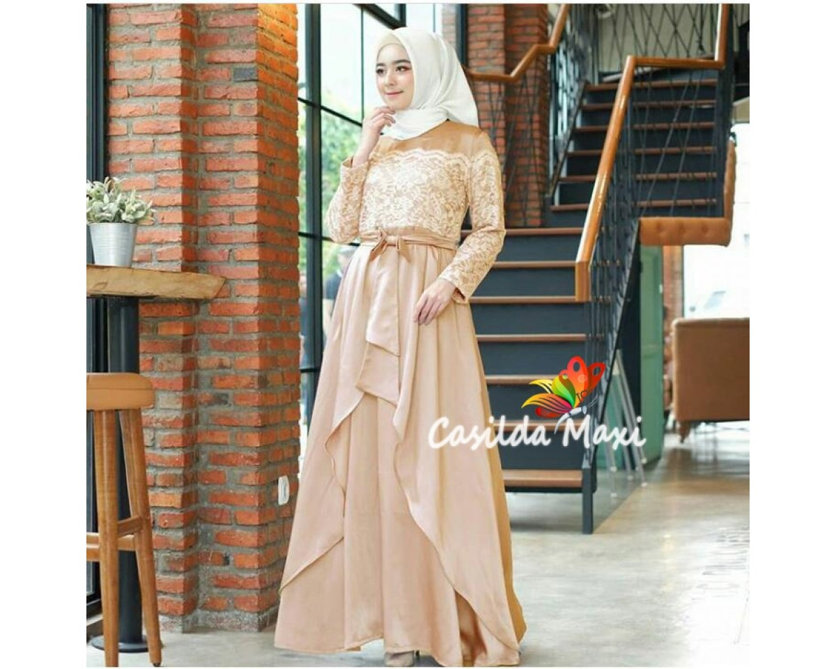 Baju Korea Hj Maxi Casilda Jc Gold