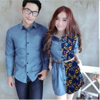 Baju Couple Cp Drs Bunga Blue Hn