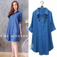 Baju Korea Long Top Hn Denim