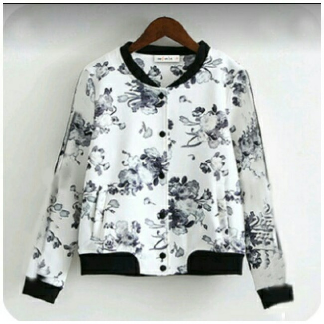Baju Korea Jaket White Flow