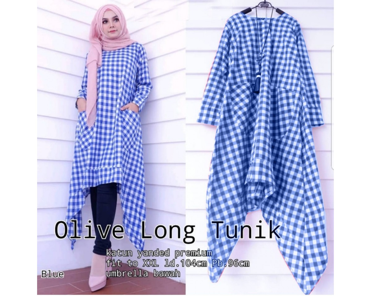 Baju Korea Long Tunik Olive Hn Blue