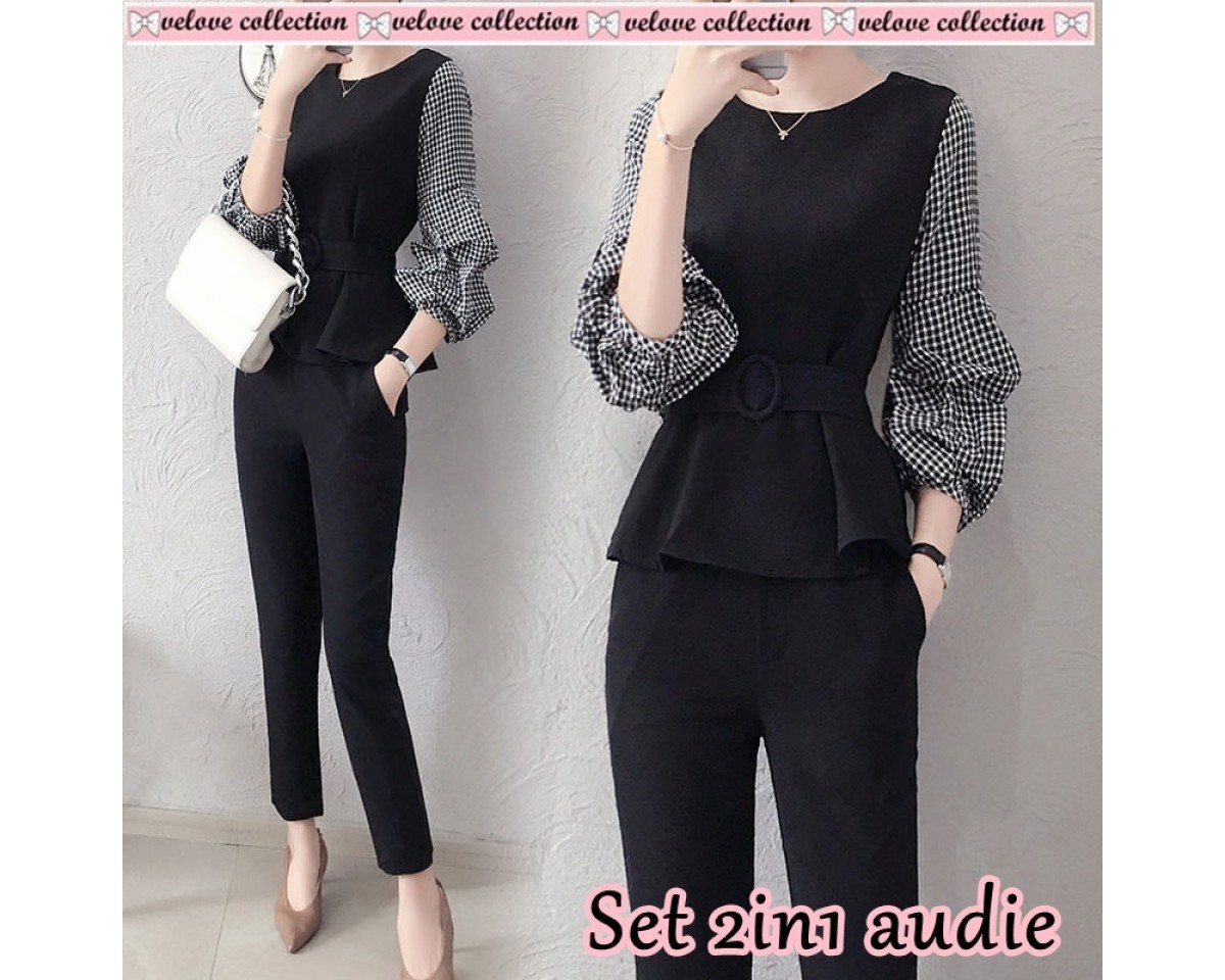 Baju Korea St 2In1 Audie Vl Hitam
