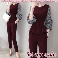 Baju Korea St 2In1 Audie Vl Maroon