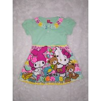Baju Anak Dress Hijau Print 4 Th