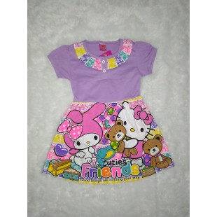 Baju Anak Dress Hijau Ungu 4 Th