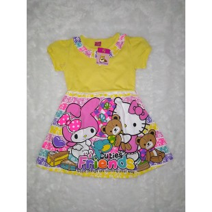 Baju Anak Dress Kuning Print 4 Th