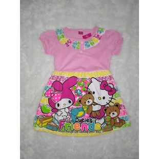 Baju Anak Dress Pink Print 4 Th