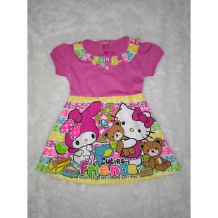 Baju Anak Dress Pink Print Pink 4 Th