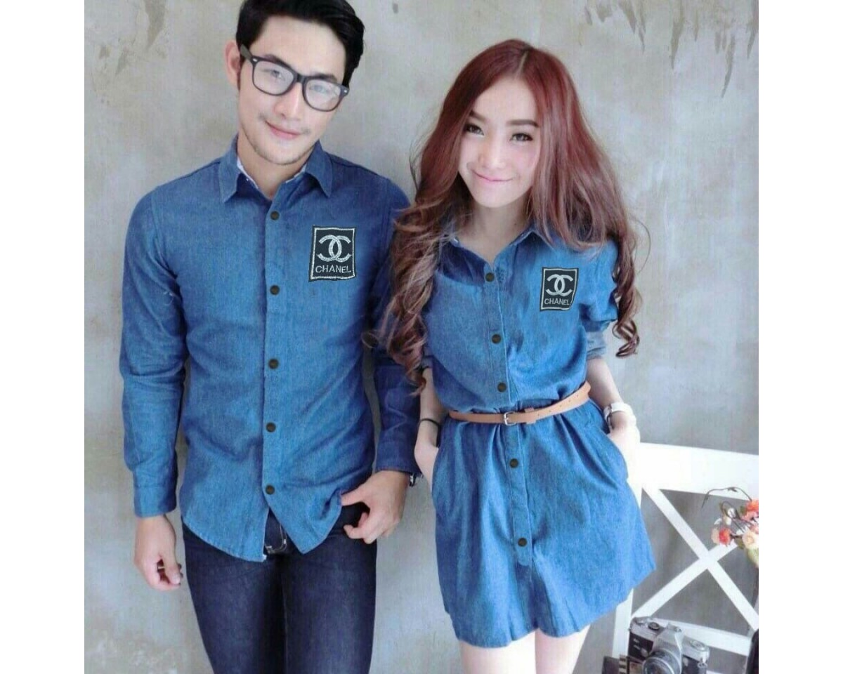 Baju Couple Cp Drs Chanel Hn Biru