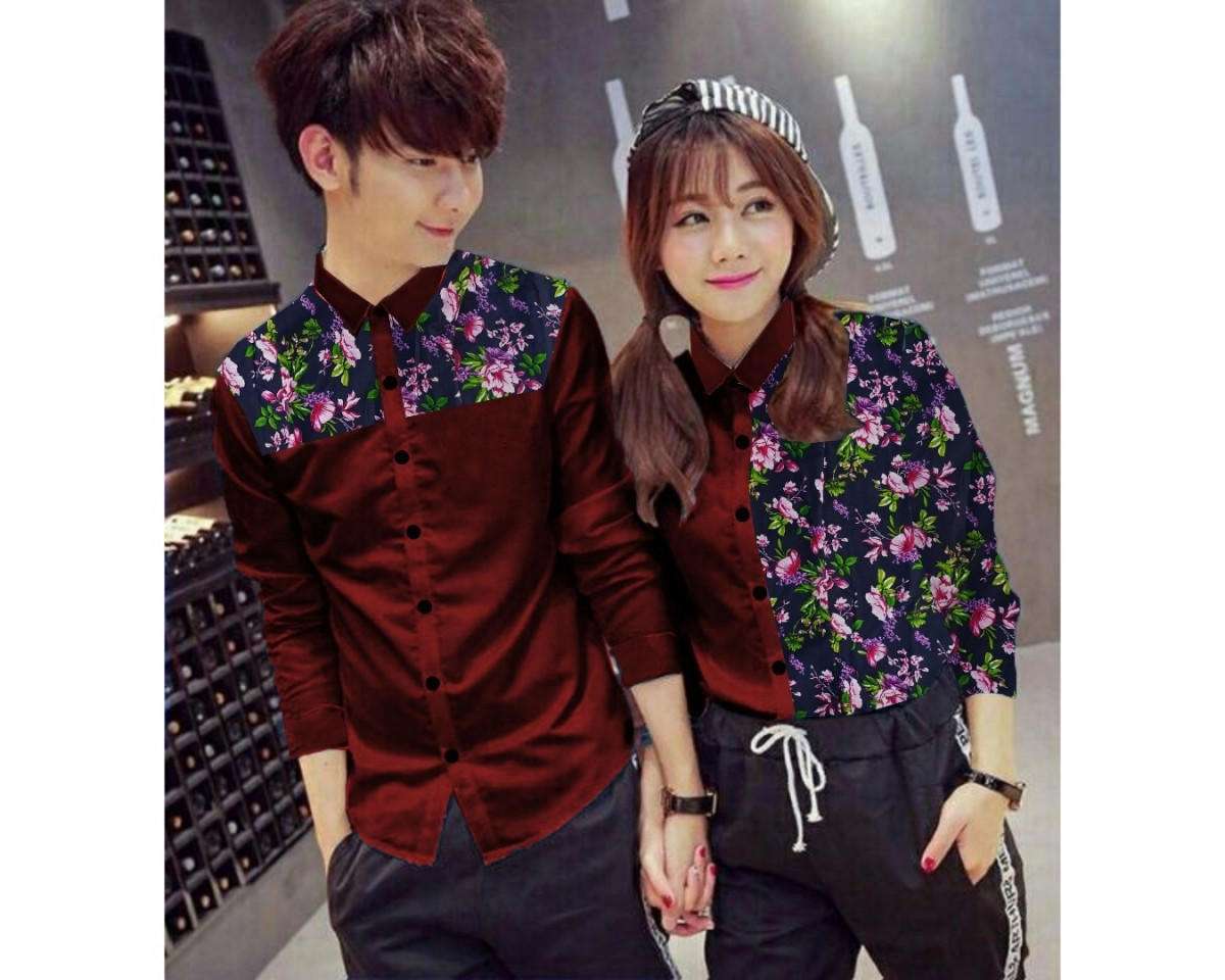 Baju Couple Cp Kmj Flower Hn Maroon