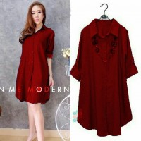 Baju Korea Long Top Maroon