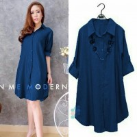 Baju Korea Long Top Navy